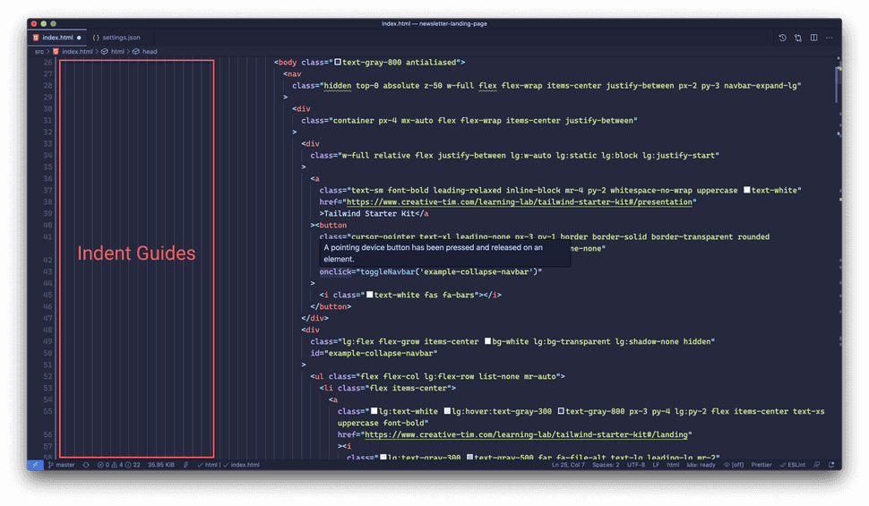 vs code user interface with indent guides highlighted